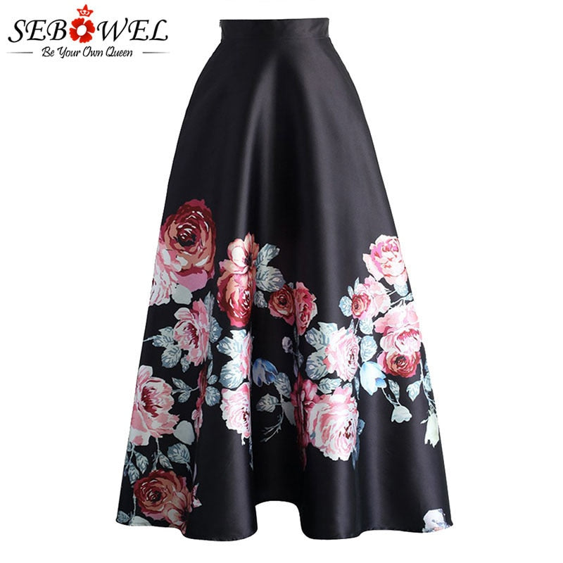 SEBOWEL Floral Print High Waist Maxi Skirt Womans Elegant Ladies Long Flower Pleated Vintage Skirts 2019 New Style Female Skirts