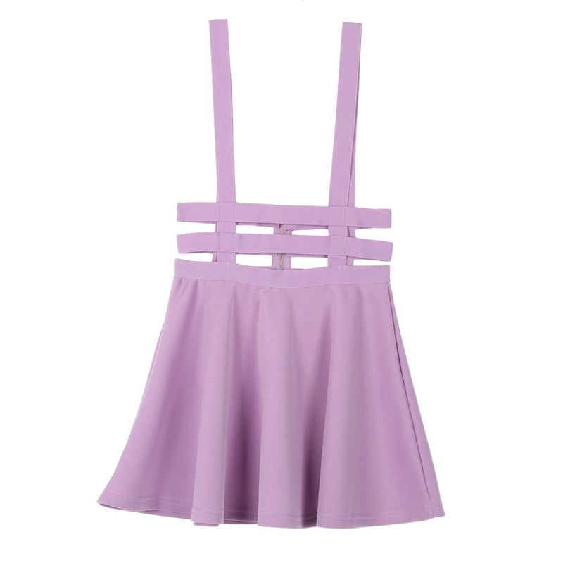 Women Suspender Skirt Mini Retro Girl Ruffles Skater Pleated Short Braces Skirt Back Zipper Hollow Out Skirt faldas jupe Straps