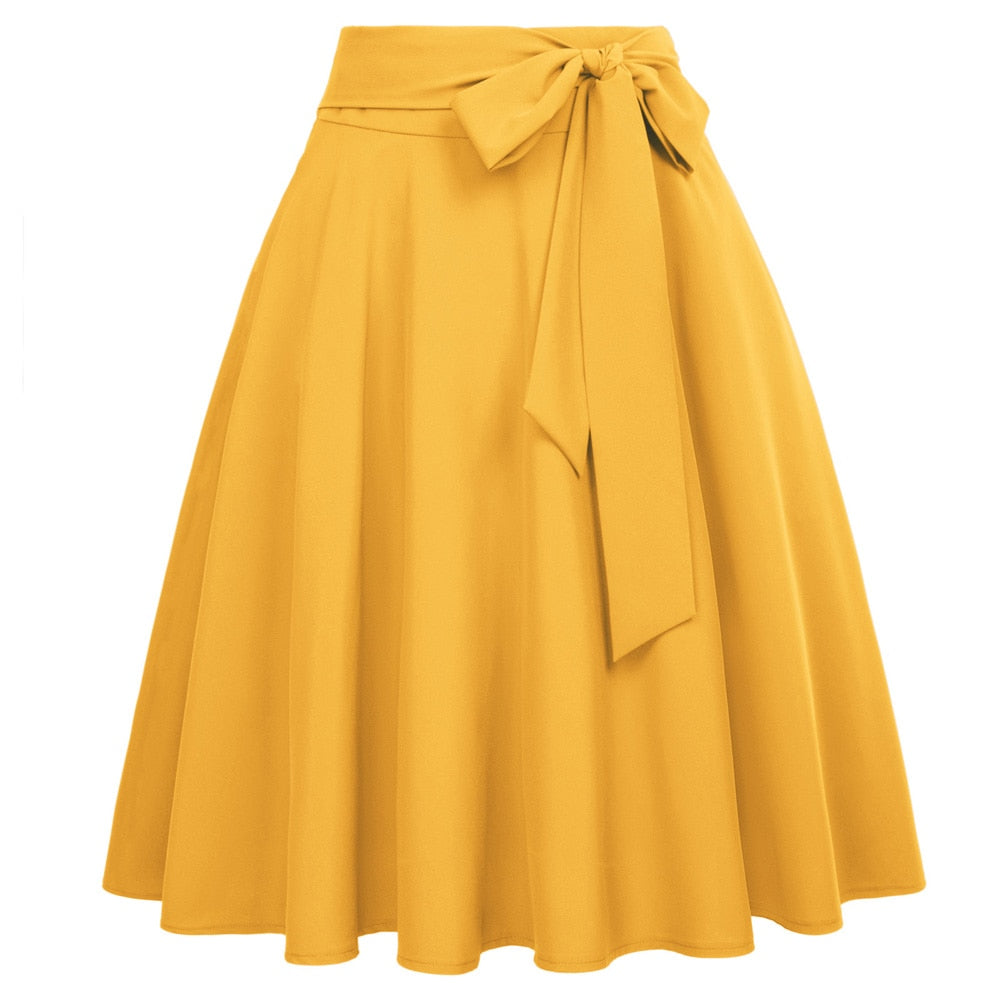 Women Solid Color High Waist skirts Self-Tie Bow-Knot Embellished big swing keen length elegant retro A-Line Skirt faldas mujer