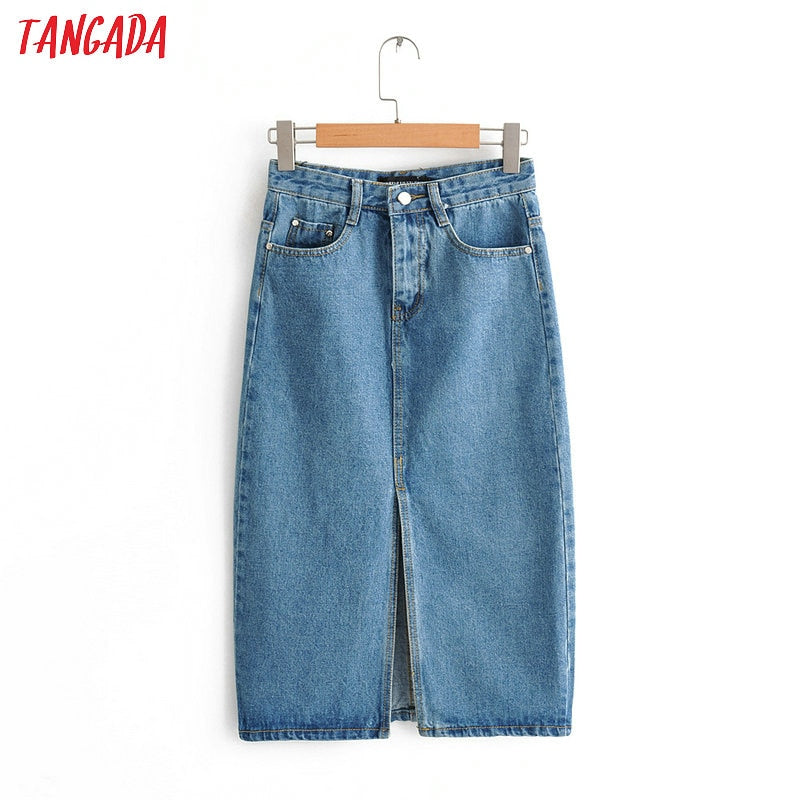 Tangada women sexy denim skirts 2019 korea fashion   pocket lady mid calf skirt high waist vintage skirts female FN66