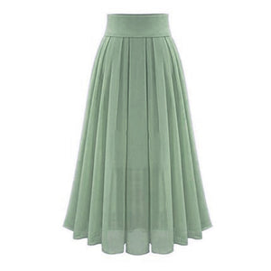 Women's Skirts Sexy Chiffion Solid Empire Ankle-Length Long Skirt Jupe Femme Summer Elegant Party Skirts z0427