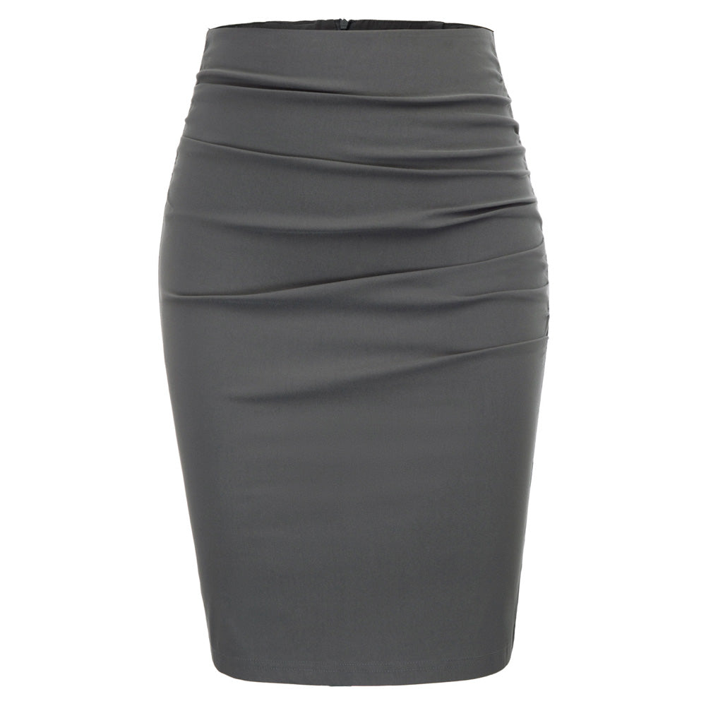 ladies Women ruched skirt Vintage office work business Solid Color pleated Front Hips-wrapped skirts Bodycon Pencil Skirt faldas