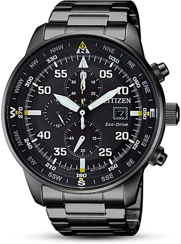 Men's Eco-Drive  Black Stainless-Steel Fashion Watch