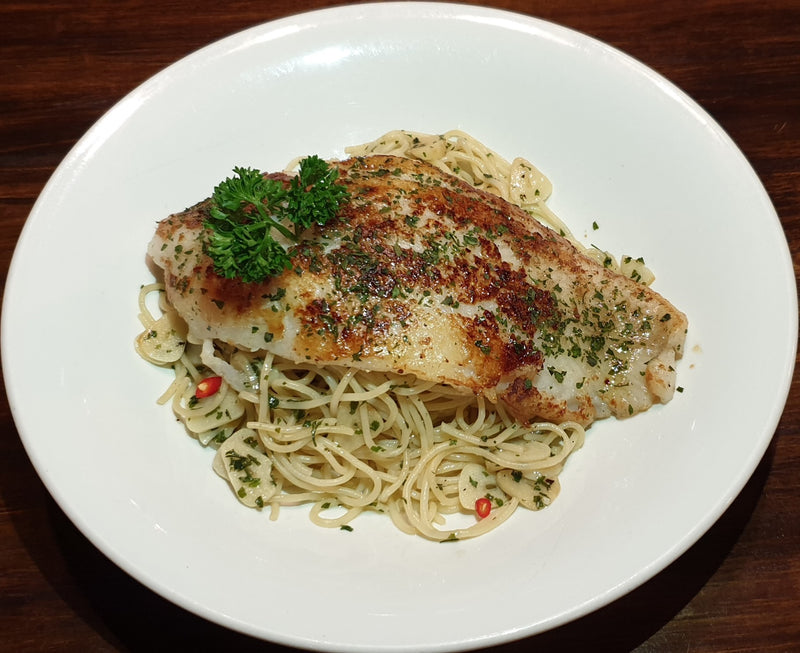 Aglio Olio with Grilled Pacific Dory