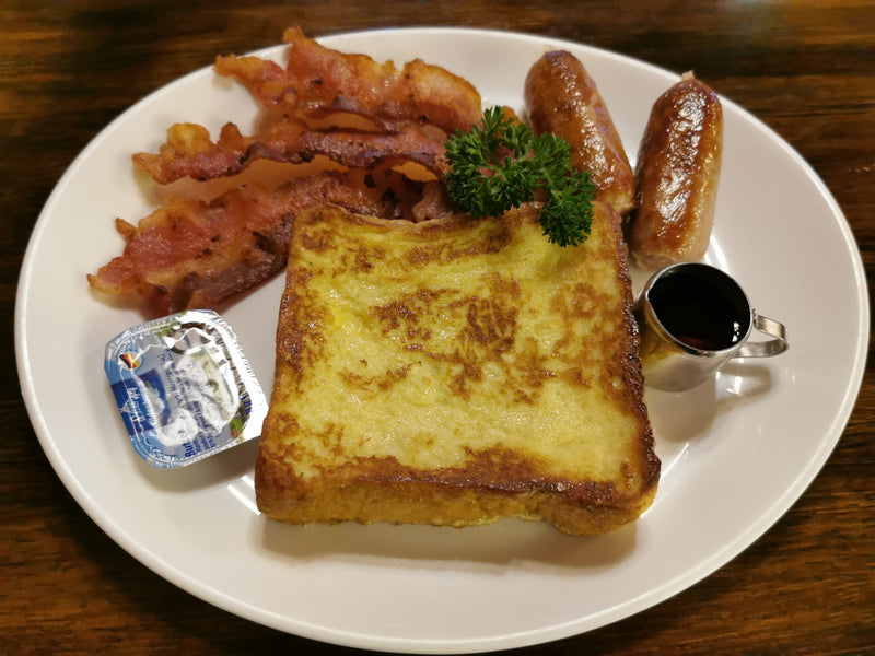 French Toast with Maple Syrup Bacon & Sausages Breakfast