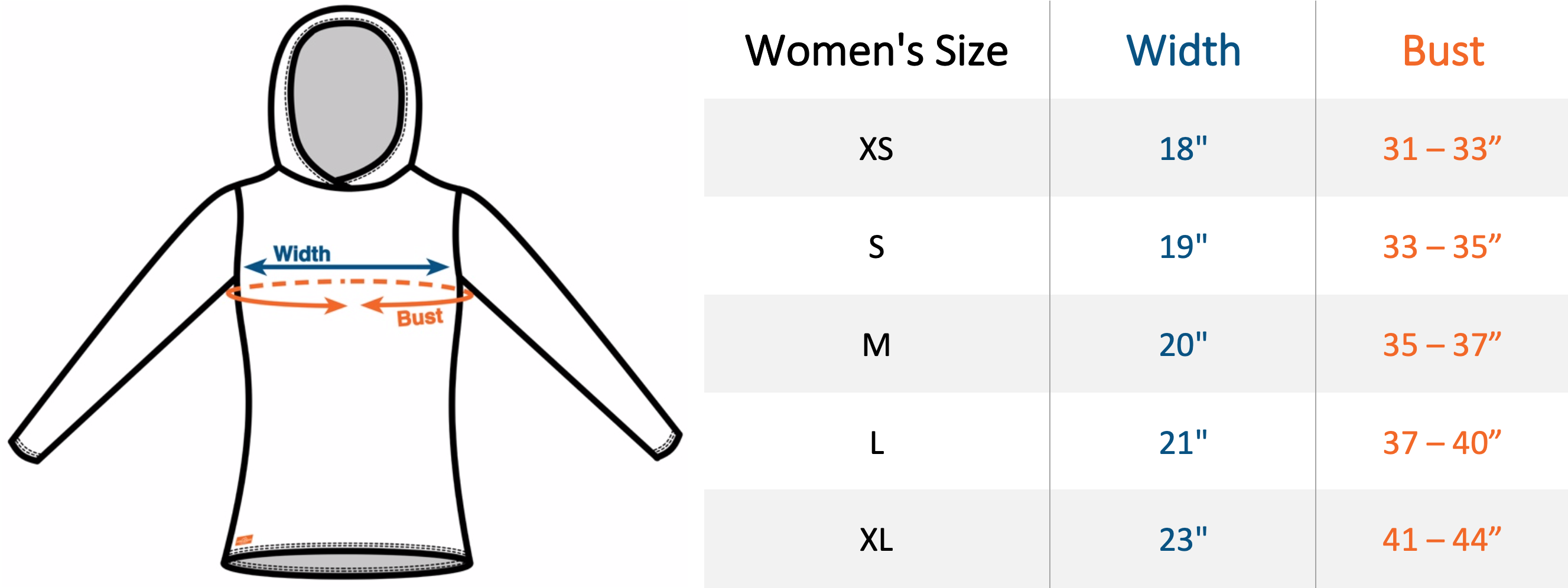 Womens All-Paca Hoodie Sizing Chart