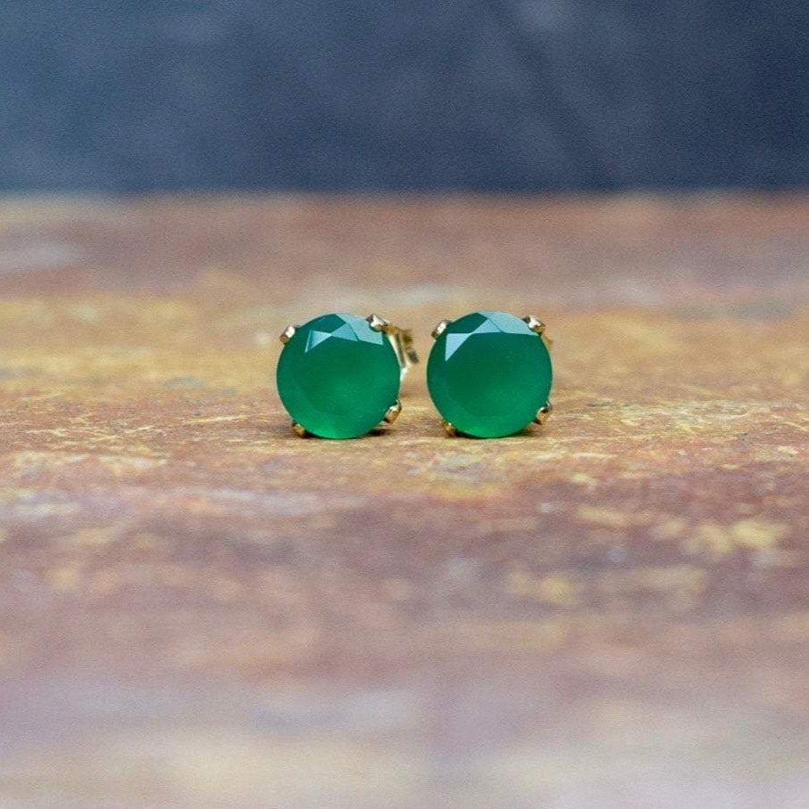 Green Onyx Earrings 4mm