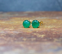 Load image into Gallery viewer, Green Onyx Earrings 4mm