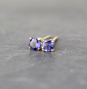 Iolite Stud Earrings 3mm