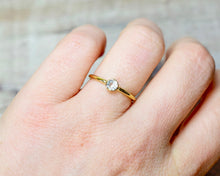 Load image into Gallery viewer, White Topaz Solitaire Ring in Gold Fill
