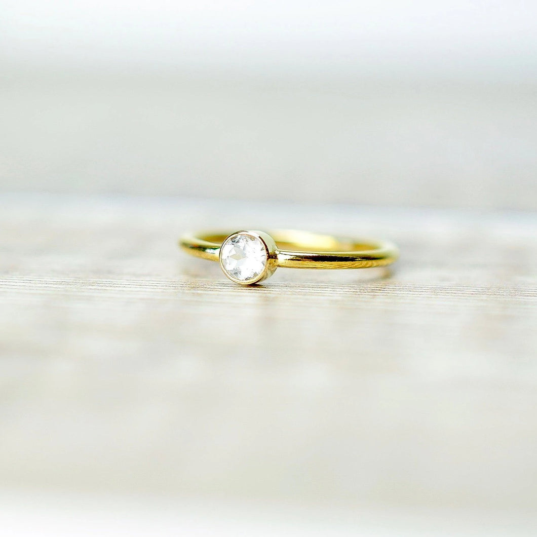 White Topaz Solitaire Ring in Gold Fill
