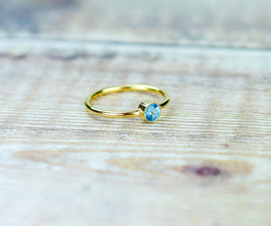 Swiss Blue Topaz Ring in Gold Fill