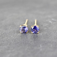 Load image into Gallery viewer, Iolite Stud Earrings 3mm