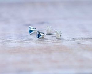 London Blue Topaz Stud Earrings in Sterling Silver