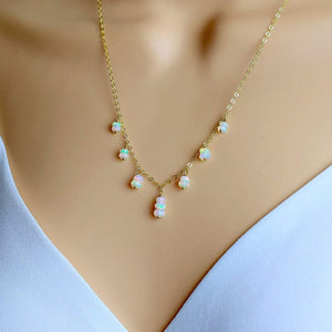 Floating Fire Opal Necklace