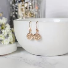 Load image into Gallery viewer, Rose Gold Hammered Disc Earrings