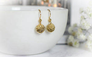 Hammered Gold Disc Dangle Earrings
