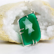 Load image into Gallery viewer, Green Onyx Pendant Necklace in Sterling Silver, Handmade Green Crystal Necklace, Claw Set Gemstone Jewelry, Unique  for Women