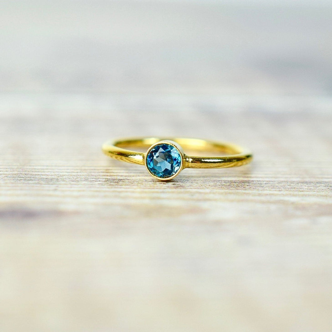 London Blue Topaz Ring in Gold Fill