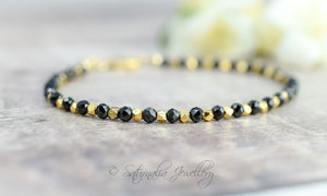 Black Spinel & Gold Nugget Stackable Bracelet