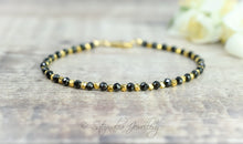 Load image into Gallery viewer, Black Spinel & Gold Nugget Stackable Bracelet