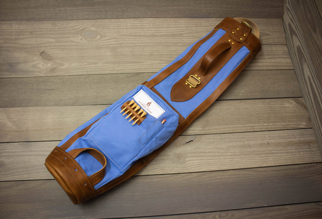 The Original Steurer & Jacoby Pencil Style Golf Bag- Light Blue & Natural Leather