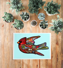 "Load image into Gallery viewer, Watercolor Cardinal Painting - ""Fly Free"""