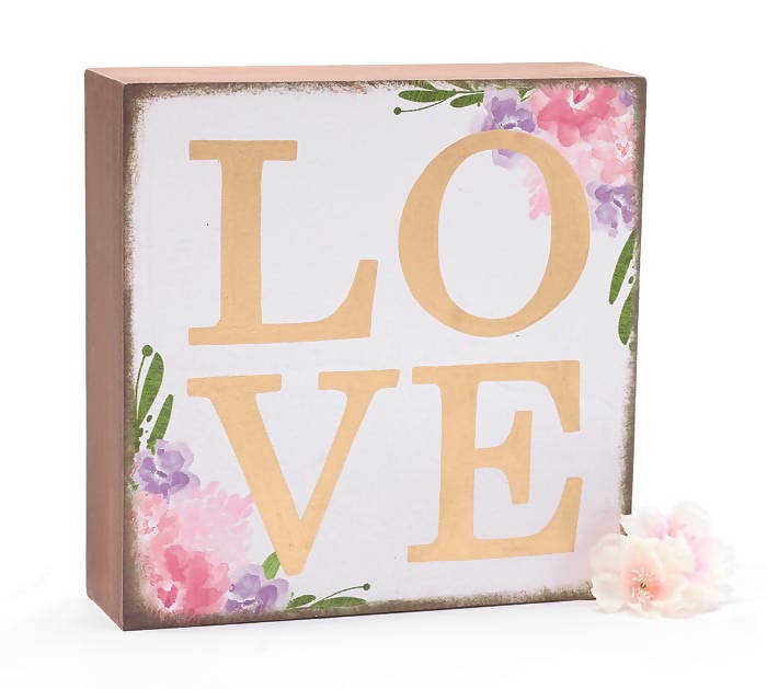 FLORAL WOODEN LOVE BLOCK