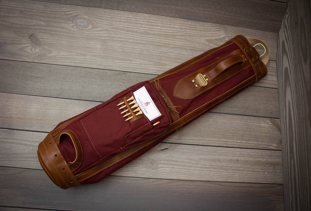 The Original Steurer & Jacoby Pencil Style Golf Bag- Maroon & Chestnut Leather Trim