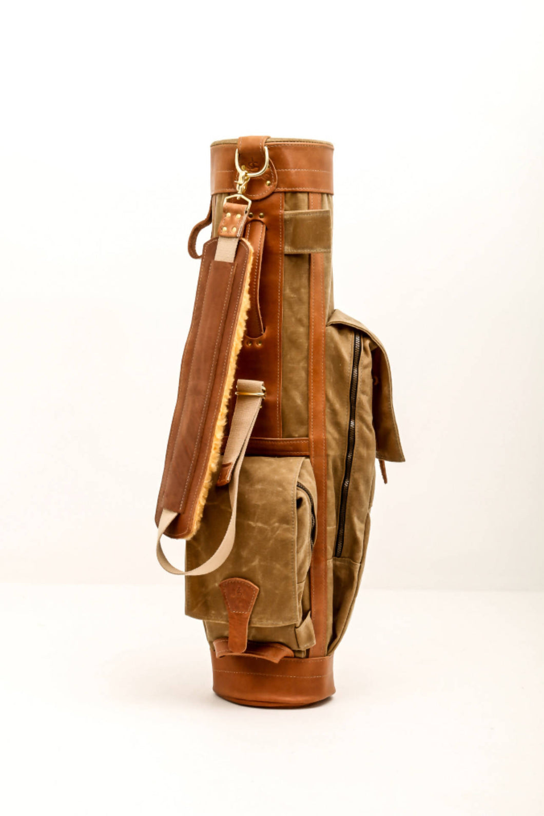 Airliner Style Golf Bag- Field Tan & Natural Leather