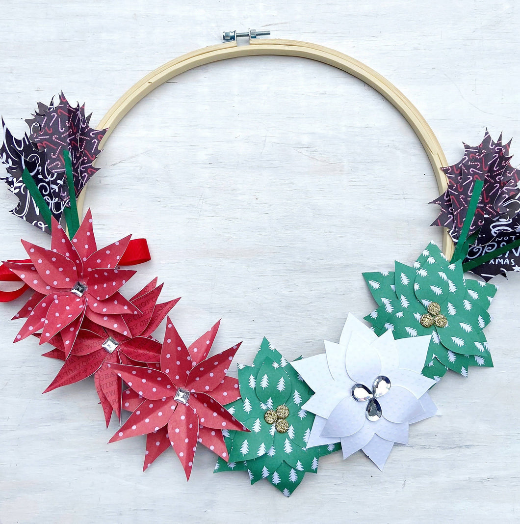 Holiday Flowers Paper Wreath