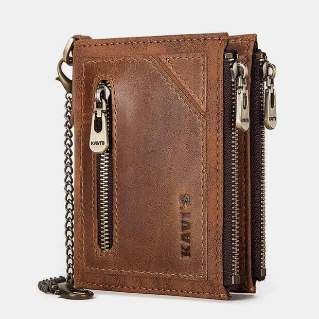 Vintage RFID Genuine Leather Bifold Coin Wallet With Chain