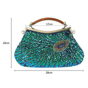 Hand-Made Beaded Clutch Peacock Sequin Bag