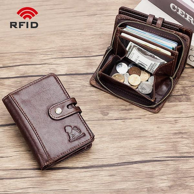 Anti-theft RFID Retro Wallet With Coin Pocket