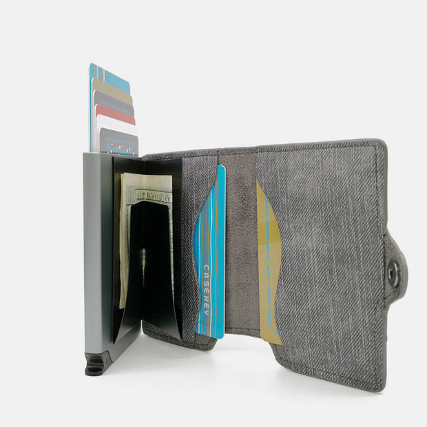 RFID Mini Slim Wallet With Metal Card Case