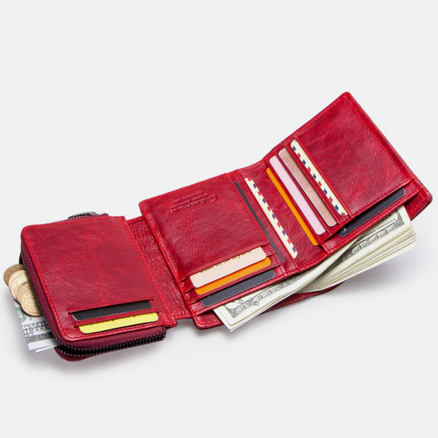 Easy Carry Genuine Leather Multi-slots Wallet