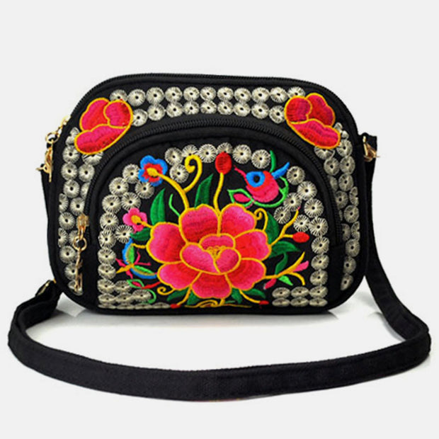 Embroidery Small Crossbody Bag Cell Phone Pouch