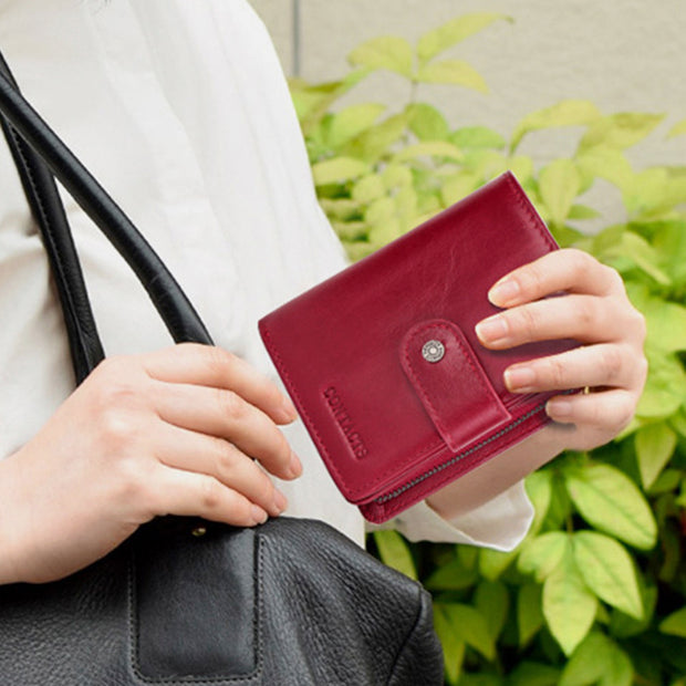 Genuine Leather RFID Trifold Anti-theft Retro Wallet