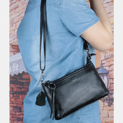 Genuine Leather Tassel Shoulder Crossbody Bag