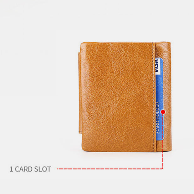 Genuine Leather RFID Trifold Vintage Wallet