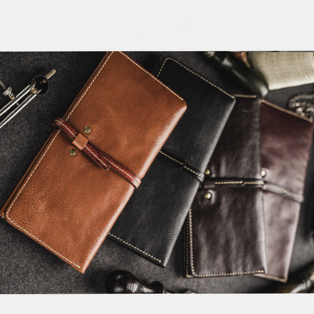 Vintage Genuine Leather Long Bifold Wallet