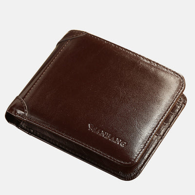 Large Capacity Trifold Genuine Leather Wallet