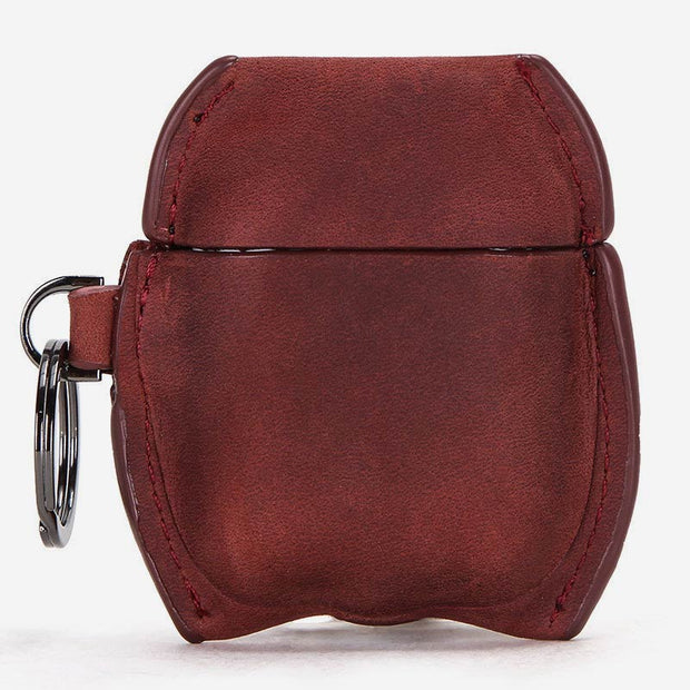 Vintage Genuine Leather Portable Shockproof Protective Cover for AirPods Pro with Keychain