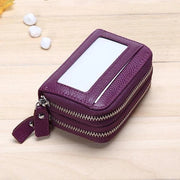 11 Card Slots RFID Genuine Leather Card Holder Purse