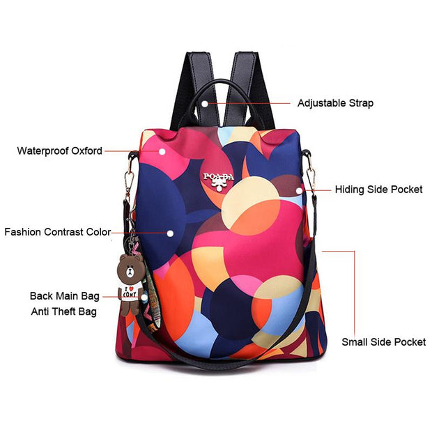 Multifunctional Anti-theft Floral Print Travel Backpack