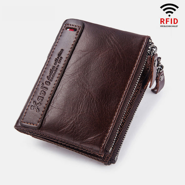 Vintage Genuine Leather RFID Wallet With Zipper Pocket