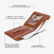 Smart Wallet GPS Records Anti-lost Vintage Multi-functional Genuine Leather  Wallet Wallet