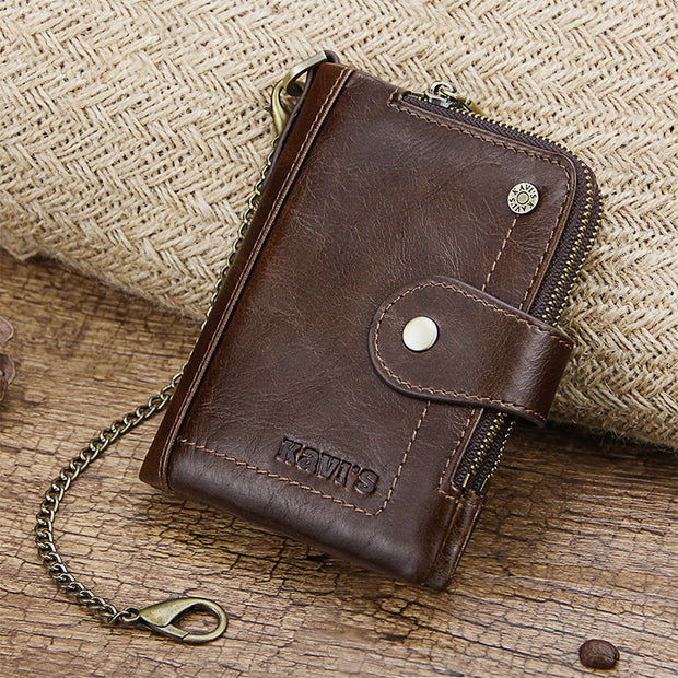 Genuine Leather Anti-theft Retro Wallet With Chain