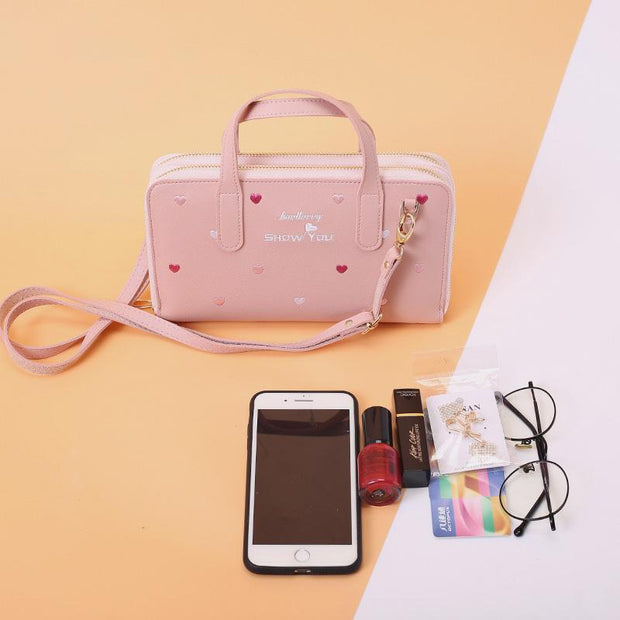 Embroidery Multi-Compartment Crossbody Handbag