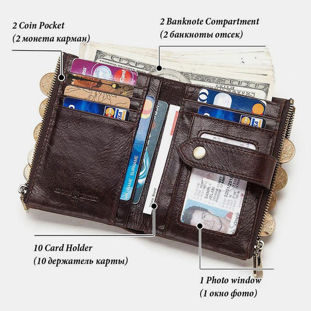 Vintage RFID Double Zipper Wallet